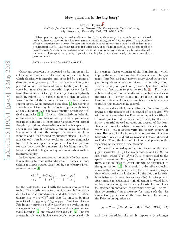 Martin Bojowald - How quantum is the big bang?