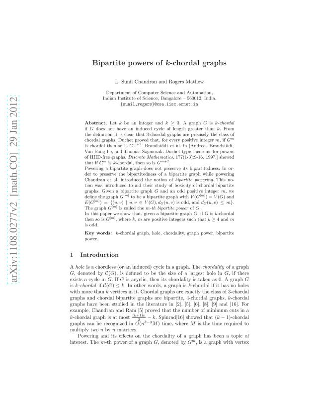 L. Sunil Chandran - Bipartite powers of k-chordal graphs
