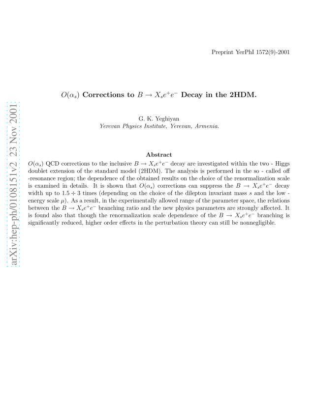 G. K. Yeghiyan - $O(α_s)$ Corrections to $B \to X_s e^+ e^-$ Decay in the 2HDM
