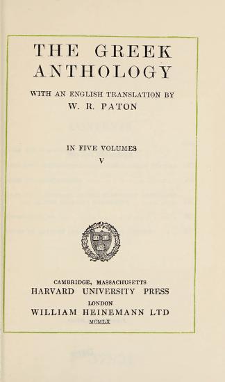 The Greek anthology by Paton, W. R.
