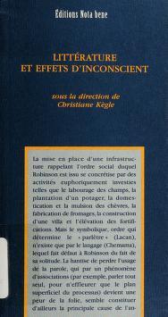 Cover of: Littérature et effets d'inconscient | sous la direction de Christiane Kègle.