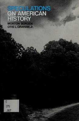 Cover of: Speculations on American history   Morton Borden